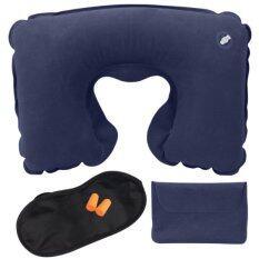 ราคา หมอนรองคอ หมอนเป่าลม ชุดเดินทาง ซื้อ 1 ได้ถึง 3 เบา พกสะดวก เหมาะสำหรับเดินทาง Travel Pillow Set สีกรม