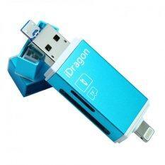 ขาย Idragon Idiskk Pro Card Reader Micro Sd Sd Card Usb 3 แฟลชไดร์ฟสำรองข้อมูลสำหรับ Iphone Ipad และ Android Blue ถูก