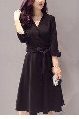 ขาย In Style ชุดเดรสผ้ายืดเนื้อหนาอย่างดีคอวีมีกระดุม สีดำ In Style