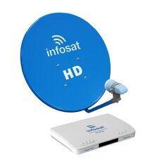 ขาย ซื้อ ออนไลน์ Infosat จานดาวเทียม Ku Band 60 Cm สีฟ้า Lnb K03 เครื่องรับทีวีดาวเทียม รุ่น Zimple Box3 Premium สีดำ