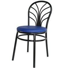 ทบทวน Inter Steel เก้าอี้เหล็ก มีพนักพิง รุ่น Hong Tae สีดำ เบาะสีน้ำเงิน