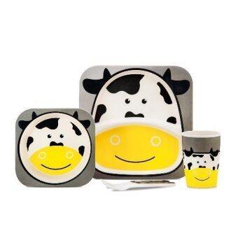 JH6148-Cow จานเยื่อไผ่ 5 ชิ้น ลายวัว