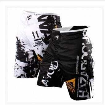 กางเกงมวย MMA & UFC คุณภาพดี เหมาะสำหรับออกกำลังกายโดยเฉพาะ (สีขาวดำ)-