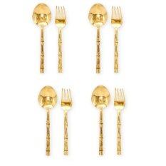 ราคา Katathong Brass2Home ช้อนส้อม ทองเหลือง ด้ามลายไผ่ 4 คู่ สีทอง