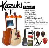 ราคา Kazuki เซ็ตกีต้าร์โปร่งไฟฟ้า Kazuki 41 นิ้ว รุ่น Kz 41Ce สีไม้ พร้อมกระเป๋า สายแจ๊ค สายสะพาย คาโป้ สายอีก 1 ชุด ปิ๊ค กล่องใส่ปิ๊ค ประแจ ราคาถูกที่สุด