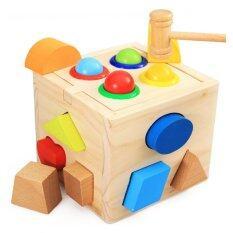 Kids Toys ของเล่นไม้ กล่องกิจกรรมบล็อกหยอดฆ้อนทุบ รูปทรง 4 ด้าน.