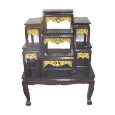 ขาย ซื้อ Kitti โต๊ะหมู่บูชา ขนาดหน้า 6 หมู่ 7 กระจังทอง สีโอ๊ค ใน Thailand
