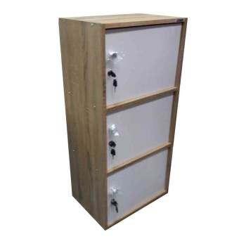 Kitti shop ตู้ล็อคเกอร์ ตู้เอนกประสงค์ ชั้นวางของ 3 ชั้น รุ่น Box 3 (สีหน้าบานขาว/ลายไม้ไว้ )-