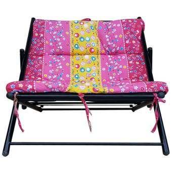 KK_Shop เตียงนั่งพักผ่อนปรับ 2 ระดับ โครงเหล็กผ้านวมพิมพ์ลาย (สีชมพู)