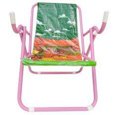 Kk_shop เตียงผ้าใบปิคนิคชายหาด รุ่น เก้าอี้ชายหาด02 โครงเหล็ก ( สีชมพู/ผ้าใบสีเขียว ) By Kk Shop.