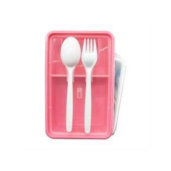 กล่องใส่อาหาร ไมโครเวฟ พร้อม ช้อนและซ่อมพลาสติกรุ่น 6189-PLAS1