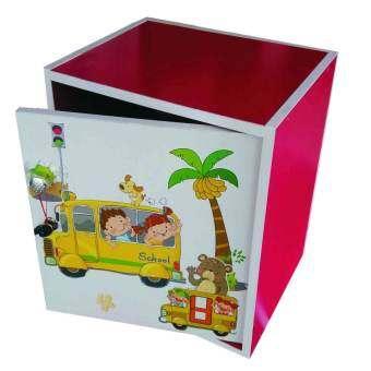 KMP Furnifure ตู้เซฟวินเทจ ตู้เก็บของ ตู้ข้างเตียง ตู้อเนกประสงค์ รุ่น Safe Box1-2 (สีชมพูลายการ์ตูน/ขาว)