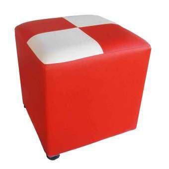 KMP Furniture เก้าอี้ ทรงสตูล เบาะสี่เหลี่ยม รุ่น Stool 1 (สีแดง/ขาว)