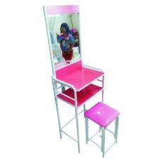ซื้อ Kmp Furniture โต๊ะเครื่องแป้งพร้อนสตูลเหล็ก รุ่น ชั้นวางของเป็นไม้ สีชมพู ถูก ใน กรุงเทพมหานคร