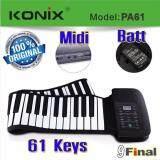 Konix Pa61 Oem By 61 Keys Midi Flexible Electronic Roll Up Piano เปียโนพกพา เปียโนไฟฟ้า 61 คีย์ พร้อมถ่านชาร์จได้ ใหม่ล่าสุด