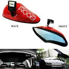 ขาย Zoom กระจก มองหลัง ซูม เลนท์ฟ้า ตัดแสง ใส่ได้กับรถ รุ่นที่มีขากระจก ยึดอยู่บนกระจกหน้า รถยนต์ ใส่แทนของเดิมได้ สีแดง Red 84 Racing ใหม่