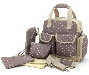 กระเป๋าใส่ขวดนม กระเป๋าแม่ลูกอ่อน ของใช้เด็กอ่อน ของใช้เด็ก เตรียมของของใช้ทารกแรกเกิด (ลายจุด สีเทา ขาว)