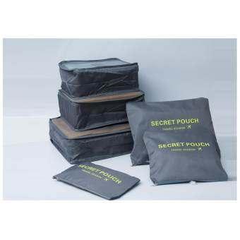 กระเป๋าจัดระเบียบเสื้อผ้าสำหรับเดินทาง เซ็ท 6 ใบ Bag Organizer Set 6 pcs (Grey / สีเทา)-