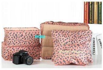 Mori กระเป๋าจัดระเบียบเสื้อผ้าสำหรับเดินทาง เซ็ท 6 ใบ Bag Organizer Set 6 pcs(Polka dot Nude tone / สีนู้ดจุดขาวดำ)