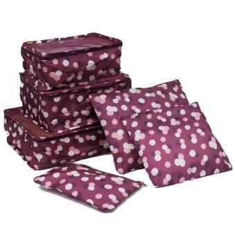 Mori กระเป๋าจัดระเบียบเสื้อผ้าสำหรับเดินทาง เซ็ท 6 ใบ Bag Organizer Set 6 pcs (Red Multicolor / ลายดอกไม้พื้นแดง)