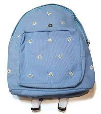 ราคา กระเป๋าเป้สะพายหลัง สีฟ้า ลายดอกไม้ สไตล์วัยรุ่น ใหม่ล่าสุด