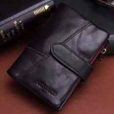 ซื้อ กระเป๋าสตางค์ ผู้ชาย หนังแท้ กระเป๋าเงิน กระเป๋าตัง บาง ทรงสั้น Contacts Genuine Cow Leather Men Wallets Fashion Purse Card Holder Wallet Man Coin Pocket Black ถูก ใน Thailand