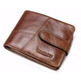 ราคา กระเป๋าสตางค์ ผู้ชาย หนังแท้ กระเป๋าเงิน กระเป๋าตัง บาง ทรงสั้น Contacts Genuine Cow Leather Men Wallets Fashion Purse Card Holder Wallet Man Coin Pocket Brown ใน Thailand