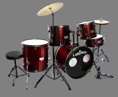 Landwin กลองชุด 5 ใบ Drum Set 5 Pcs 22 X16 X12Ls R Bk Gpc 53 17 Wr สีแดง เป็นต้นฉบับ