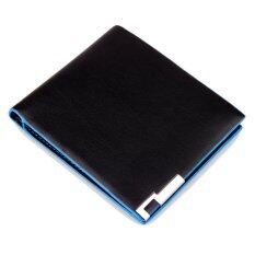 ขาย Leather Men Wallets Vintage Genuine Leather Wallet With Metal Angles Blue Intl เป็นต้นฉบับ