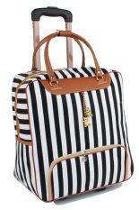 ราคา Girly Bags กระเป๋าเดินทางใบเล็ก กระเป๋าเดินทางล้อลาก กระเป๋าล้อลาก Travel Bag ลายทาง รุ่น Lt 003 สีขาว ดำ ถูก