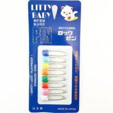 Litty Baby Diaper Pins เข็มกลัดเด็ก Stainless Steel Traditional Safety Pins Assorted Color By Chula Company.