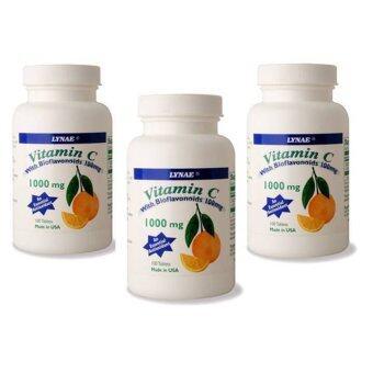 Lynae VitaminC Vitamin USA ไลเน่ วิตามินซี บำรุงผิว ต่อต้านสารอนุมูลอิสระ 100 แคปซูล x 3 ขวด