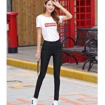M fashion กางเกงขายาว ผ้ายืด กระเป๋าหลัง (สีดำ) รุ่น R8040-
