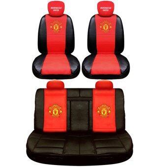 Manchester United ชุดหุ้มเบาะหนัง PVC แบบเรียบเข้ารูป (สีดำ-แดง)หน้า - หลัง