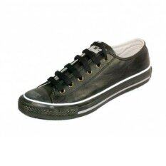 ราคา Mashare รองเท้าผ้าใบแฟชั่น มาแชร์รุ่น M15 ผ้าใบหนัง Pvc ไม่หุ้มข้อ สีดำล้วน ใน กรุงเทพมหานคร