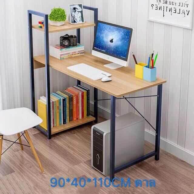 โต๊ะคอมพิวเตอร์ รุ่น H พร้อมชั้นวางหนังสือ3ชั้นโต๊ะcomputerโต๊ะคอมโต๊ะโต๊ะวางของโต๊ะทํางาน โต๊ะสวยๆ ชั้นวางของ โต๊ะเขียนหนังสือ โต๊ะไม้ โต๊ะคอมเกมมิ่ง