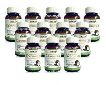 Vitatip น้ำมันมะพร้าวบริสุทธิ์สกัดเย็น 100% เกรดพรีเมี่ยม ชนิดแคปซูล - 12 ชุด-