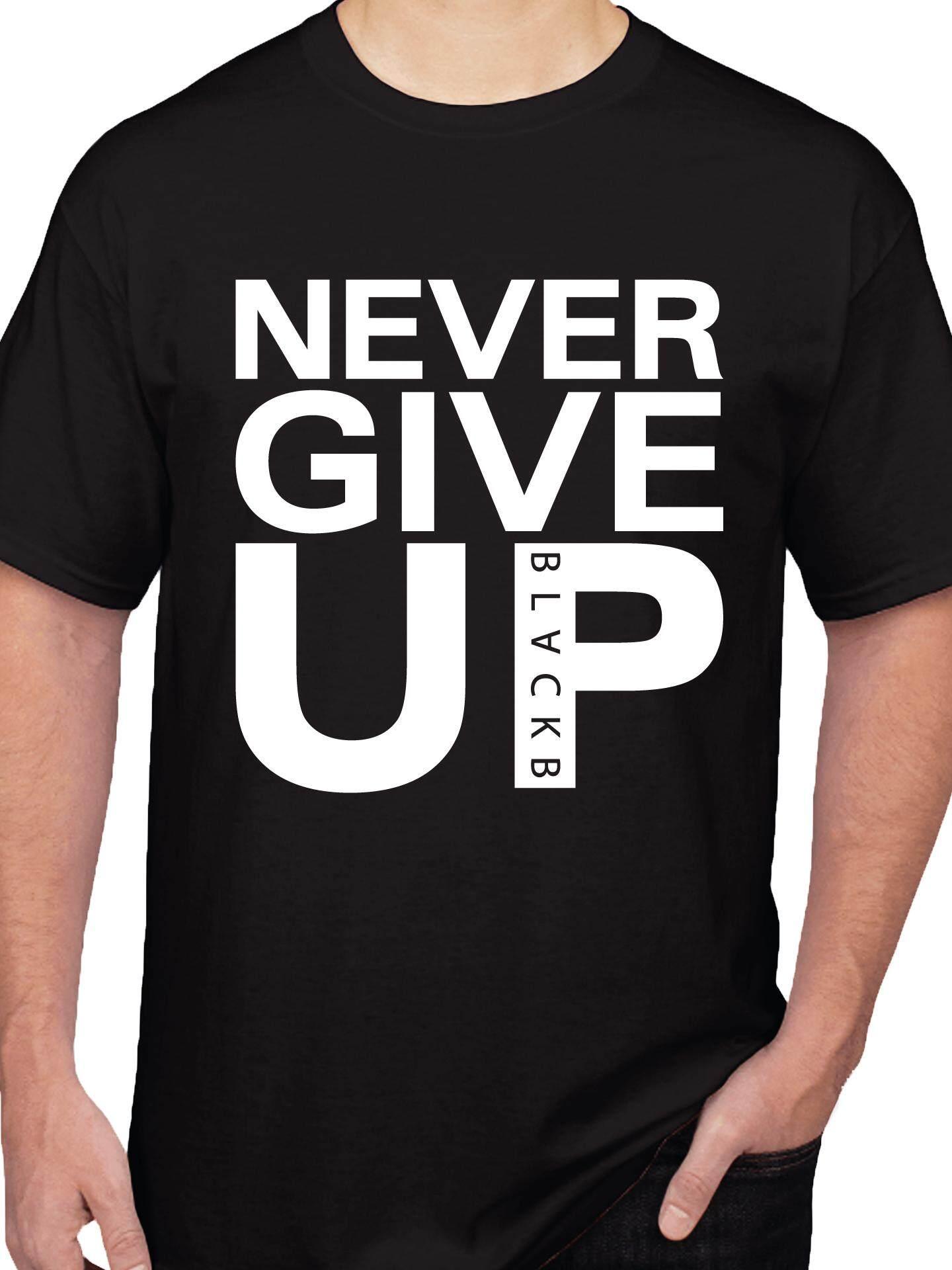 เสื้อยืดคอกลมสกรีนลาย Never Give Up Mohamed Salah (สีดำ) By Fullyscreen.