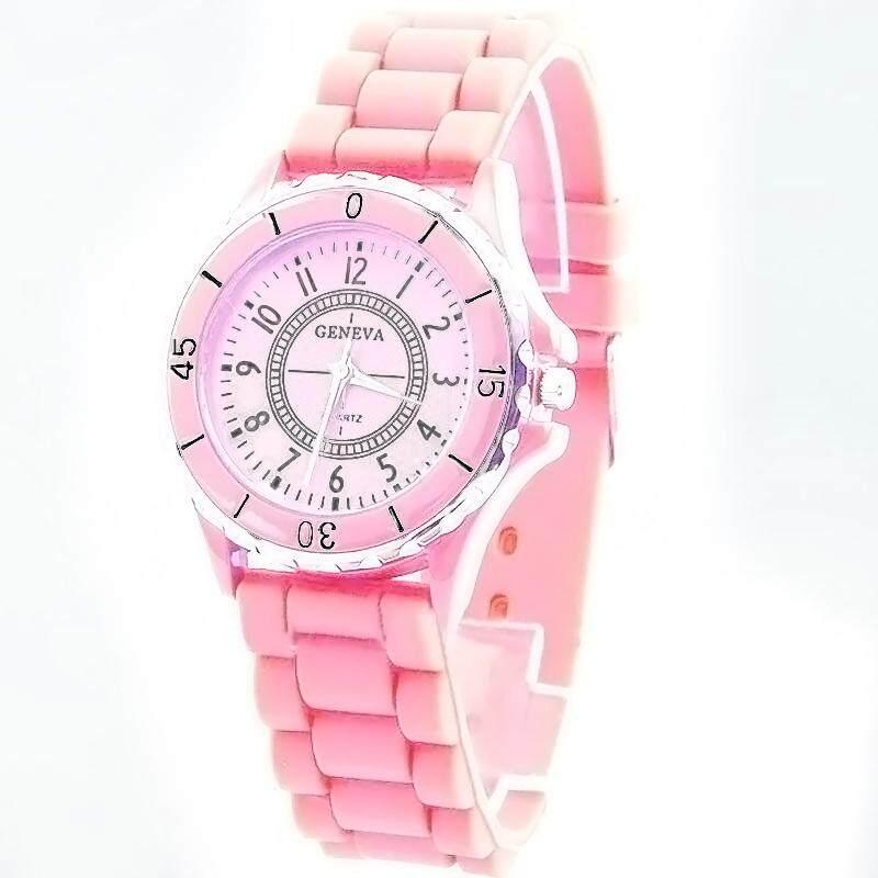 Geneva นาฬิกาข้อมือ Unisex สีชมพู (pink) สายซิลิโคน By Spedio.