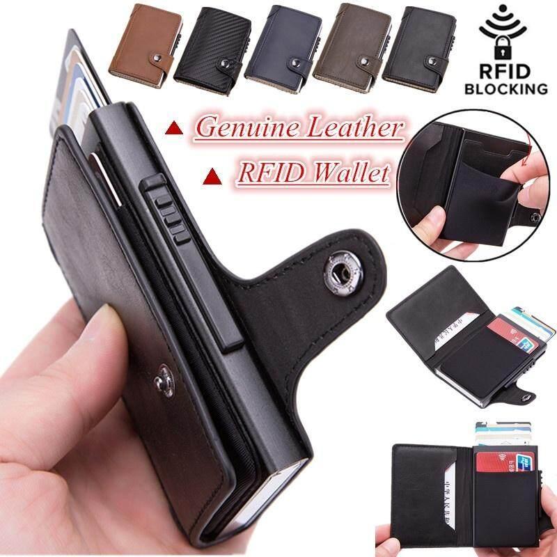 Anti Theft Smart Wallet Mens RFID Slim Wallet Multifunction Flip Automatic Pop-up Mini Card Bag Genuine Leather Credit Card Holder Money Cash Clip Wallet