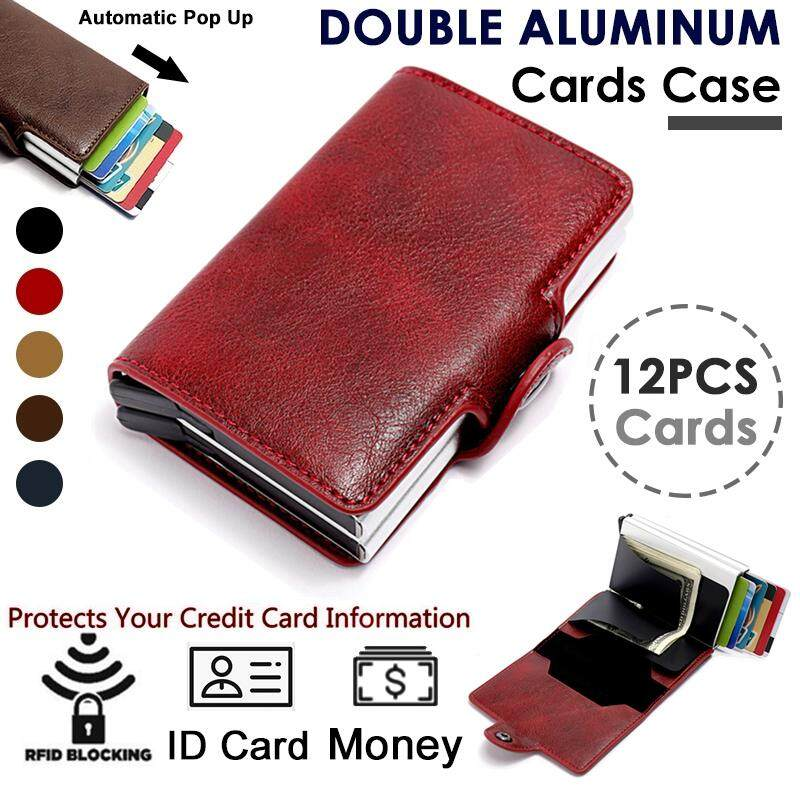 Pu Leather Credit Card Holder Automatic Pop-up Card RFID Anti-theft Bank Card Package Mens Double-layer Aluminum Black Wallet