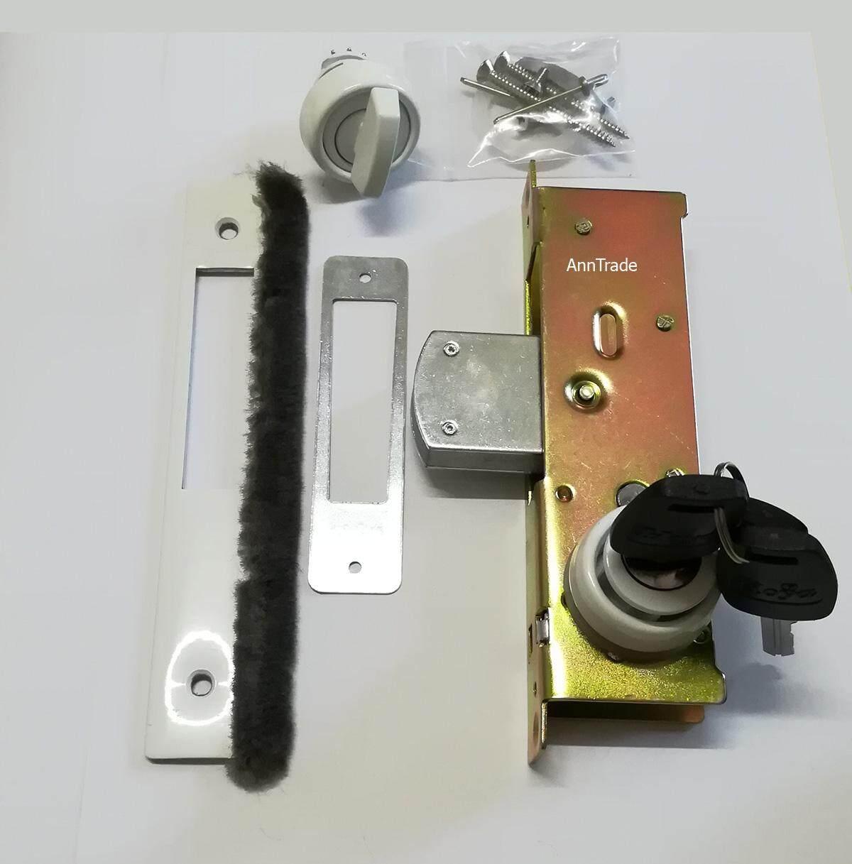 กุญแจประตูบานสวิง มี 4 สี คือ สีอลูมิเนียม สีดำ สีชา สีขาว กุญแจประตูกระจก กุญแจประตูอลูมิเนียม ที่ล็อตประตู.
