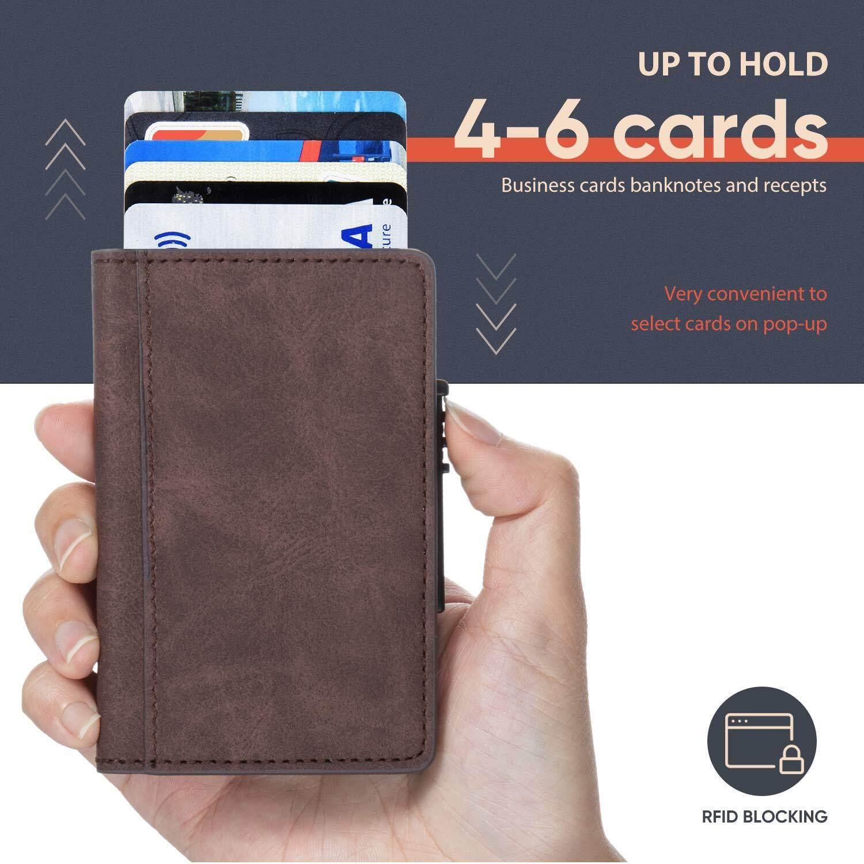Smart Wallet RFID Blocking Men Credit Card Holder Anti Theft Card Holder for Men Wallets PU Leather Automatic Mini Slim Card Case Aluminum Metal Purse