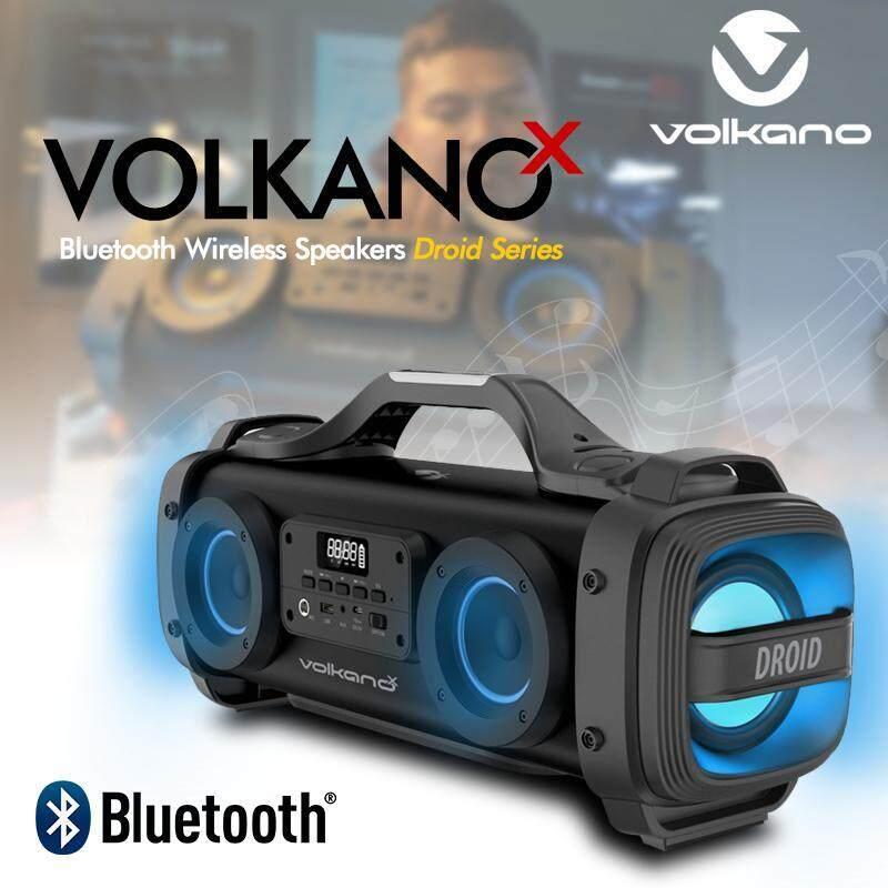 Volkano X Droid Series Bluetooth Speaker 45w ลำโพงบลูทูธพกพา บลูทูธ 4.2 มีแบตเตอรี่ขนาด 4400 Mah มีช่องเสียบไมค์ร้องคาราโอเกะ มีช่อง Input Aux 3.5 , Usb สำหรับเล่นเพลง Mp3 และ วิทยุ Fm ปรับ Eq เพิ่มกำลังเบสได้ ประกันศูนย์ 1 ปี.