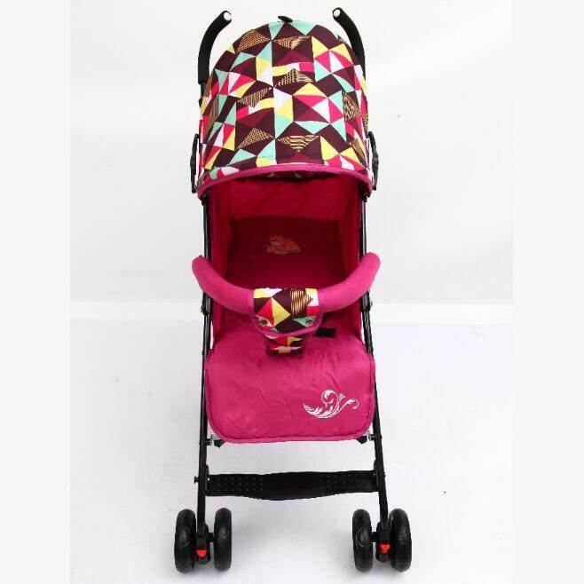 รถเข็นเด็ก ปรับได้ 3 ระดับ น้ำหนักเบา รองรับหนัก  (นั่ง/เอน/นอน) ฟรีมุ้งคร้า  baby stroller  รุ่น 500# สีชมพูเข้ม RoseRed