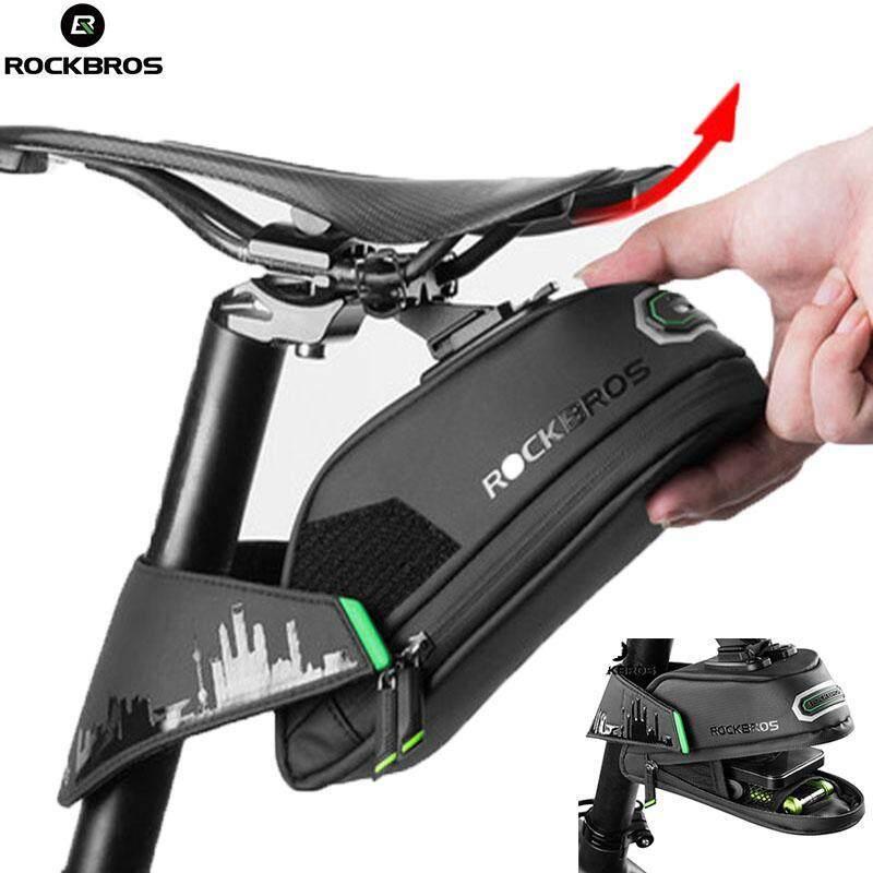 RockBros Road Bike Saddle Bag MTB Waterproof Saddle Bag Seatpost Bag Black