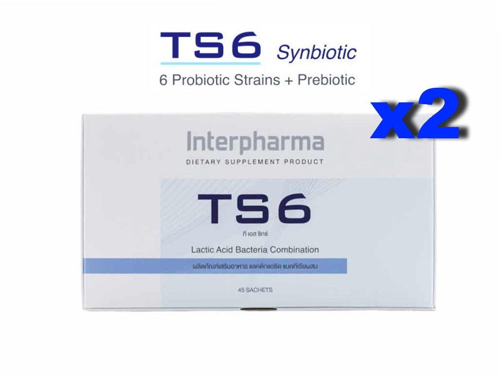 Ts6 Probiotic ทีเอสหก โปรไบโอติก 2 กล่อง 90 ซอง ประกอบด้วย Multiple Species Probiotic (โปรไบโอติก) รวม 6 ชนิด และ Prebiotic (พรีไบโอติก) Lot ใหม่ หมดอายุ Oct 2021.