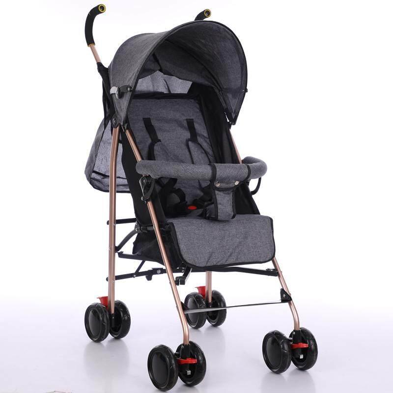 รถเข็นเด็ก ปรับได้ 3 ระดับ น้ำหนักเบา รองรับหนัก  (นั่ง/เอน/นอน) ฟรีมุ้งคร้า  baby stroller  รุ่น 917# สีเทา Gray