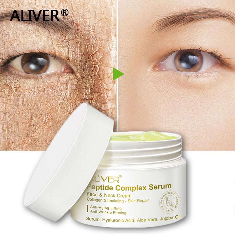 Aliver ครีมลดริ้วรอย เปปไทด์6 ชนิด กระชับผิว เพิ่มความยืดหยุนแก่ผิว ต่อต้านริ้วรอย ไวท์เทนนิ่ง Facial Cream Whitening Face Cream Wrinkle Cream ครีมหน้าขาว ครีมบำรุงหน้า ครีมหน้าขาวใส ครีมหน้าขาวใส.