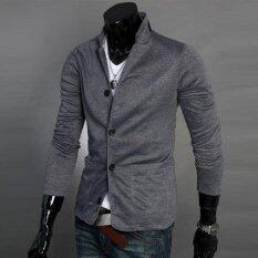 ขาย Men Concept เสื้อสูทผู้ชาย ผ้ายืด รุ่น In1366 สีเทาดำ คอปก ไทย